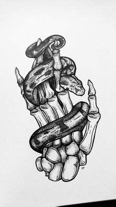 Tattoo art inspiration snake wrapped around skeleton arm