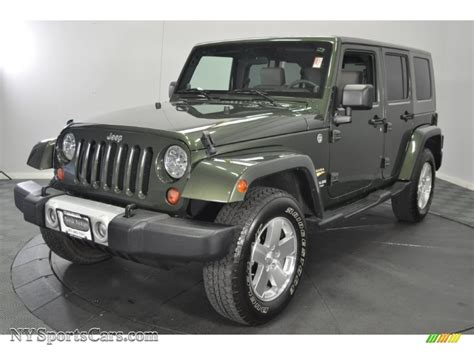 jeep metallic 2009 jeep wrangler unlimited sahara 4x4 in jeep green