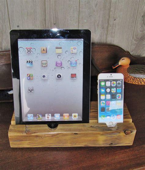 iphone  ipad stand ipad dock station   reclaimed wood east coast rustic