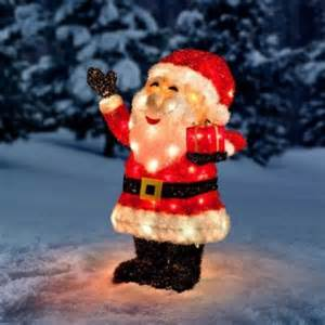 outdoor decorations tinsel lighted santa