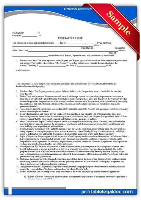 free contract for deed template free printable contract for deed forms template