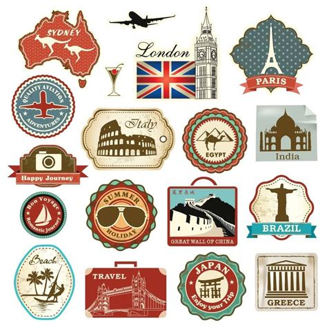 18 Retro Vintage Travel Suitcase Stickers