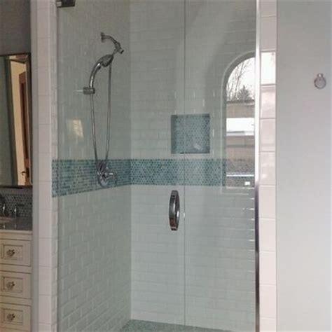 subway tile  glass mosaic insert  frameless shower