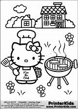Coloring Grill Kitty Hello Barbecue Chef Pages Colouring Bubakids Sheet Mermaid Ads Google Printerkids sketch template