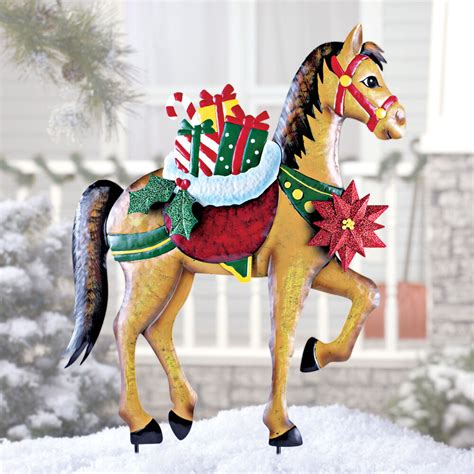 holiday horse  gifts garden stake christmas decoration