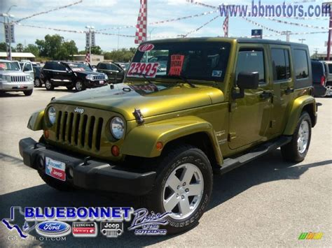 jeep unlimited green 2007 rescue green metallic jeep wrangler unlimited sahara