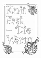 Coloring Warm Knitting Die Knit Fast Square Don Printable Crafting Adults Yarn Themed Addition Maybe Nice Area Wool sketch template