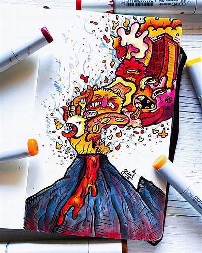 Doodle Doodles Graffiti Crazy Drawing Drawings Volcano