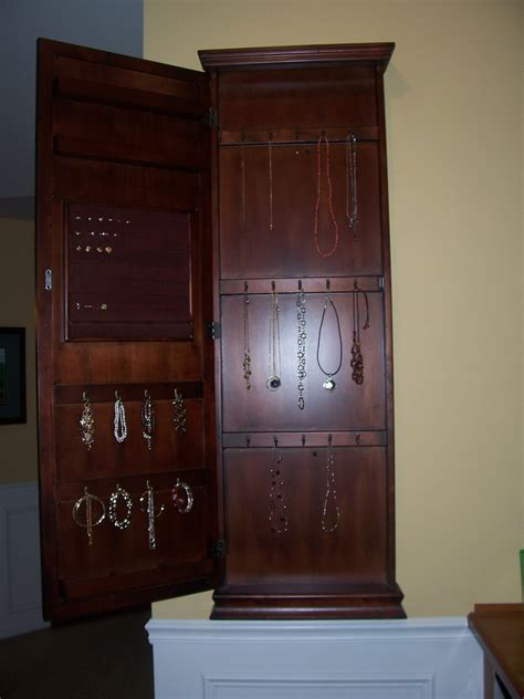 custom wooden wall mount jewelry box cabinet armoire