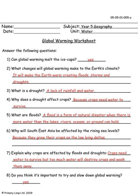 climate change worksheets free worksheets library
