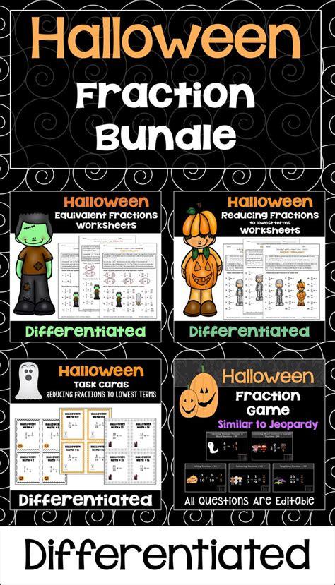 halloween fraction bundle  worksheets task cards