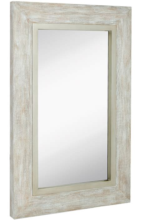 Bathroom Mirrors White Frame by Large White Washed Framed Mirror Distressed Frame