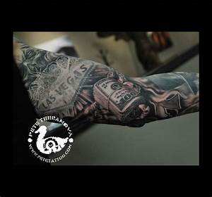 Black and gray money roll on Vegas sleeve | Custom Tattoos ...
