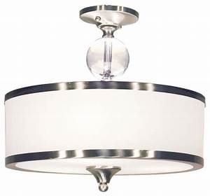 Light semi flush mount with white glass drum shade