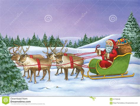 santa claus riding  sleigh  reindeer  christmas