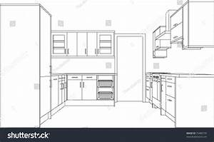 A 3d Single Point Perspective Line Drawing Of A Fitted ...