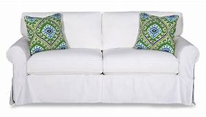 Cottage, Style, Slipcover, Sofa, With, Rolled, Arms, And, Kick, Pleat, Skirt, By, Craftmaster
