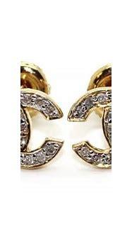 Chanel Logo Diamond Earrings Chanel Diamond Earrings New ...