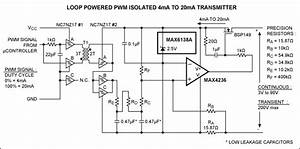 pwm controlled 4 20ma transmitter is galvanically isolated With circuit temperature sensor with 4 to 20ma current loop circuits