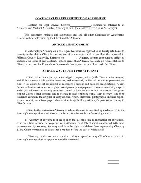 contingent fee representation agreement contract  legal