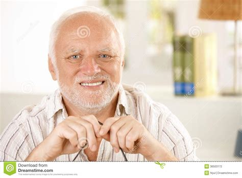 Portrait Of Happy Old Man Stock Photo Image Of Cheerful