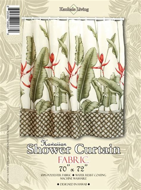hawaiian tropical fabric shower curtain heliconia