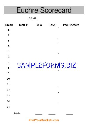 euchre score cards templates samples forms