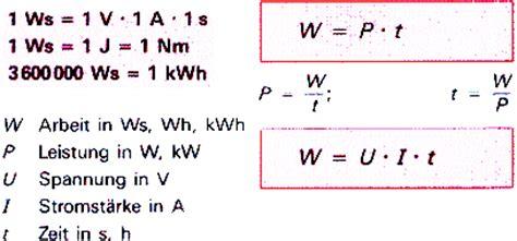 elektrische energie berechnen elektrische arbeit das ber