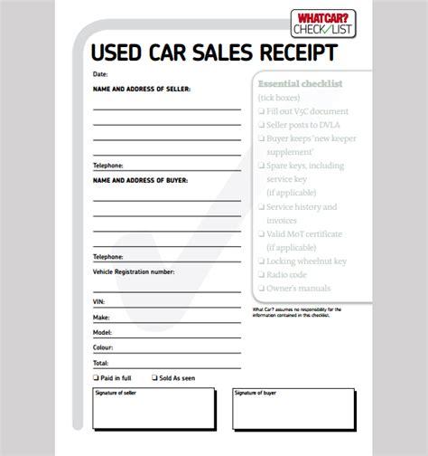 car sale receipt template template business