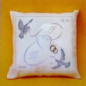 coussin de mariage coussin de mariage les oiseaux au ruban couleur iza broderie