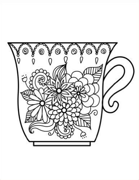 images  coffee tea coloring pages