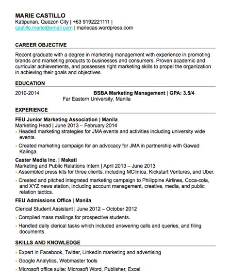 Chronological Resume Fresh Graduate by 1 Page Resume For Fresh Graduate