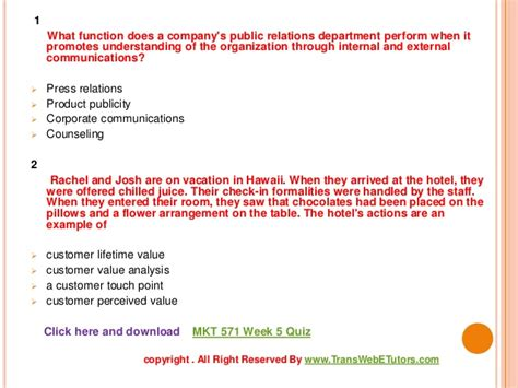 mkt 571 week 5 quiz uop course tutorial