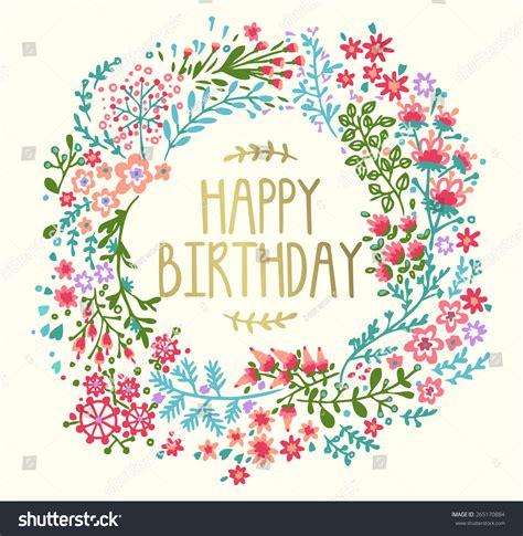 birthday card floral wreath stock vector