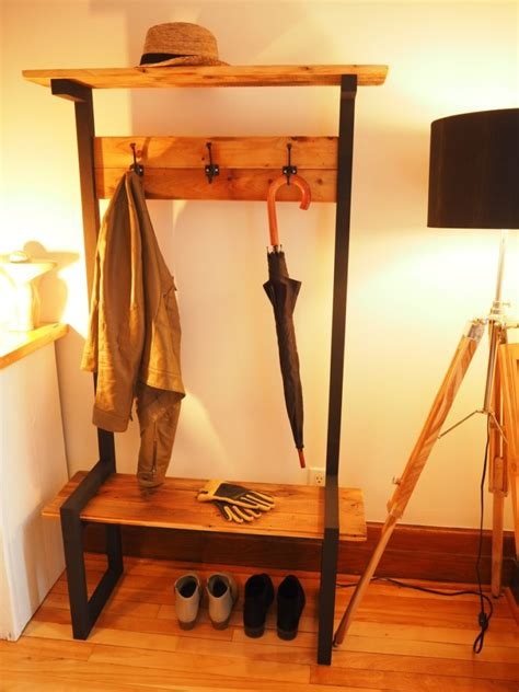 industrial coat rack bench hall tree diy montreal