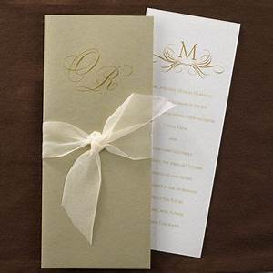 this pearl shimmer card has a gold wrap with a chiffon With wedding invitations tied with ribbon