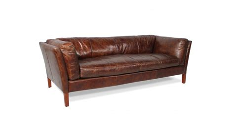 vintage sofa leder deco weiches sofa aus braunem patina leder dreisitzer