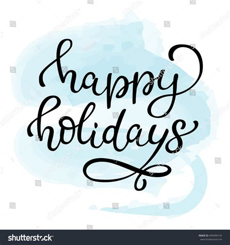 Hand Drawn Vector Lettering Happy Holidays Isolated Black