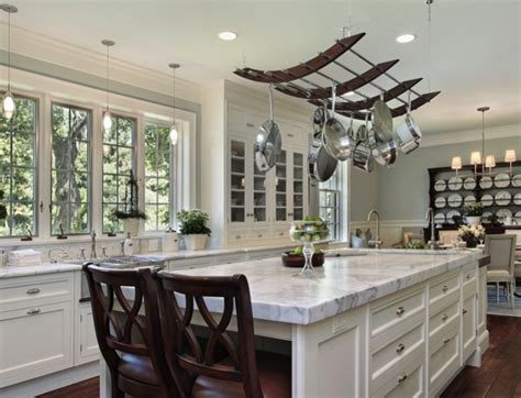 beautiful livingrooms kitchen pot shelves and hanging pot and pans