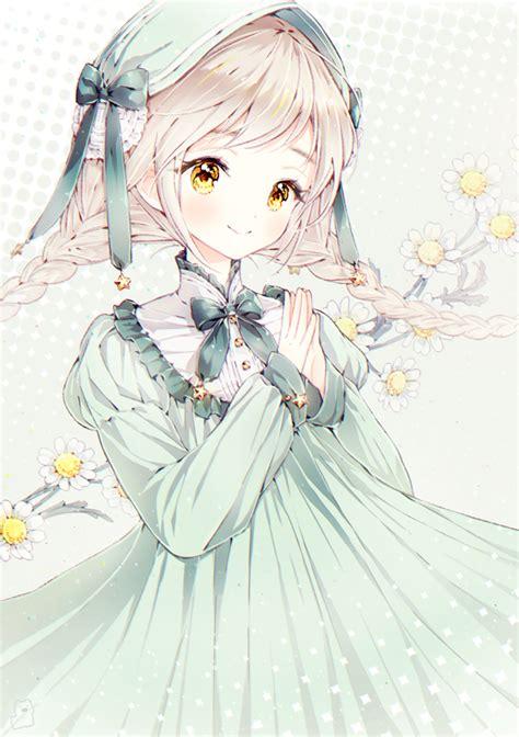anime girl lolita blonde hair yellow eyes braids