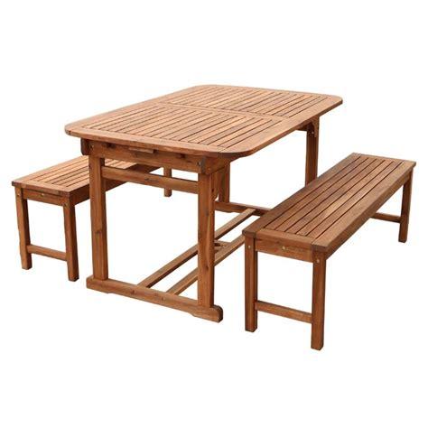walker edison 3 acacia wood patio dining set brown