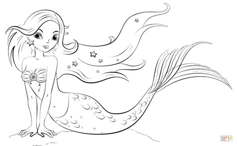 realistic mermaid coloring pages   print