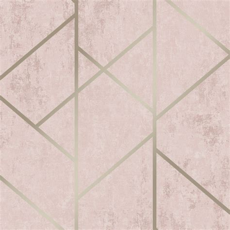 love wallpaper milan geo metallic wallpaper blush pink