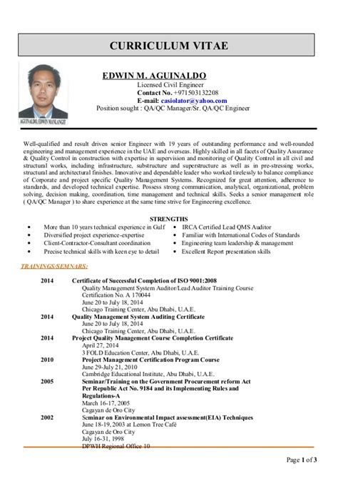 Resume Civil Engineer Philippines by Edwin Cv For Qa Qc Manager