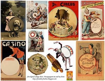Collage Digital Sheet Freebies Circus Freubels Freebie
