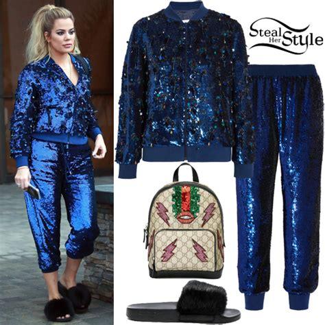 Khloe Kardashian: Blue Sequin Jacket and Pants | Steal Her ...
