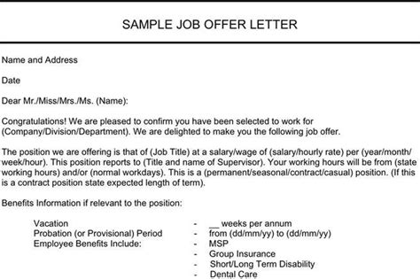 job offer letter templates sles word excel exles letter template download free premium templates forms