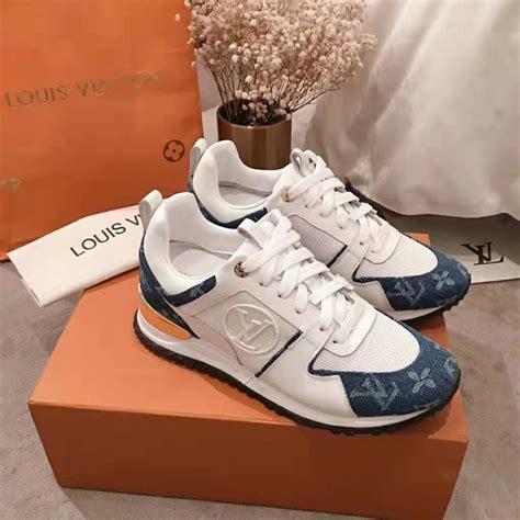 louis vuitton lv women run  sneaker  monogram denim  calf leather blue lulux
