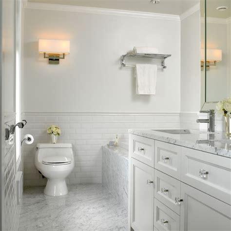 carrara white subway tile bathroom