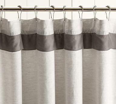 pottery barn linen curtains linen with silk trim shower curtain pottery barn